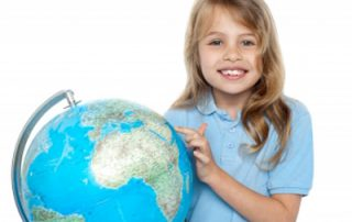 Kid with globe