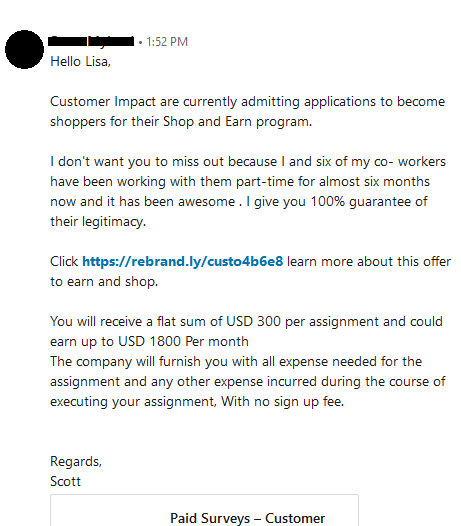 LinkedIn Scam Message Example