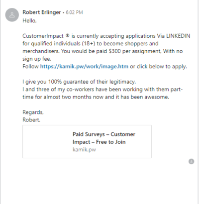 LinkedIn Scam Message Example #3