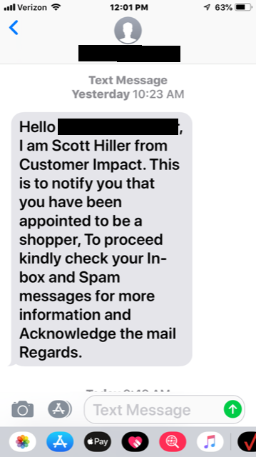 Scam Example #1 - Text Message