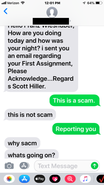 Scam Example #1 - Text Message 2