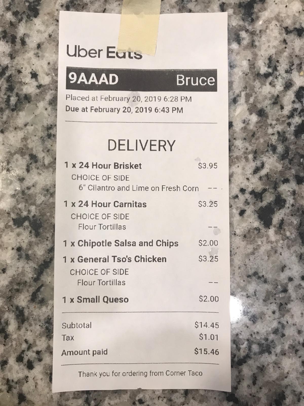 Customer #1 - Receipt